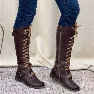 Frye Jenna Lace Up Combat Boots Cap Toe 6.5 EUC